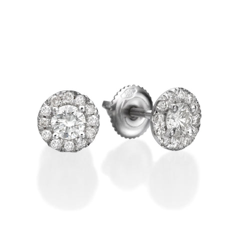 0.80 ct Round Brilliant Cut Diamond Stud Earrings