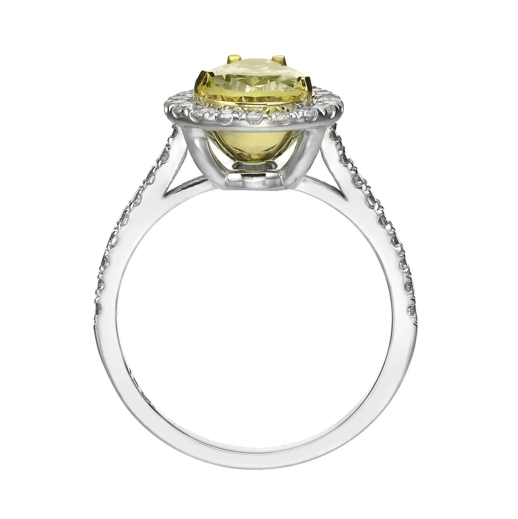 2.08 ct Fancy Yellow Pear Shaped Diamond Engagement Ring