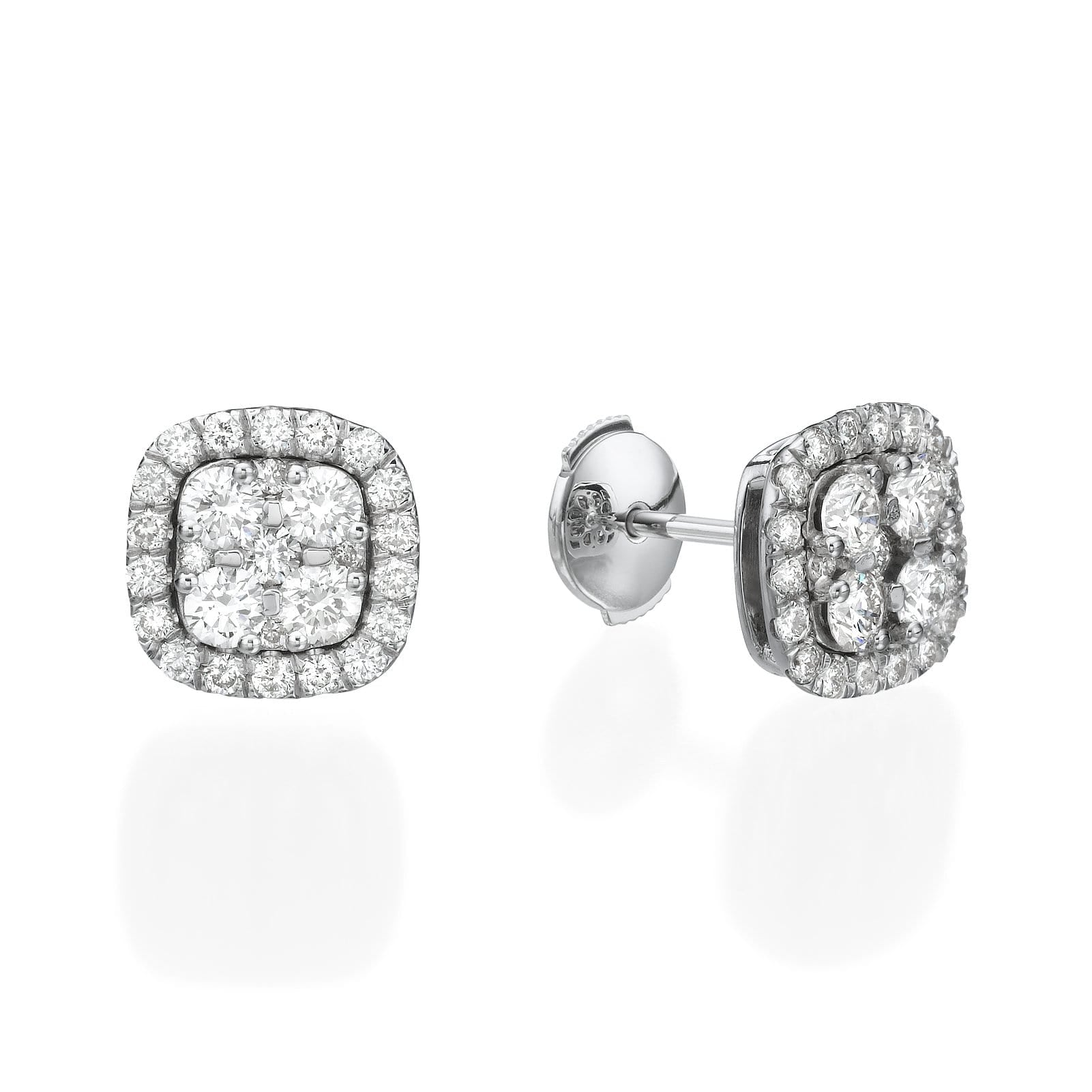 Big Cushion Shaped Diamond Cluster Earrings