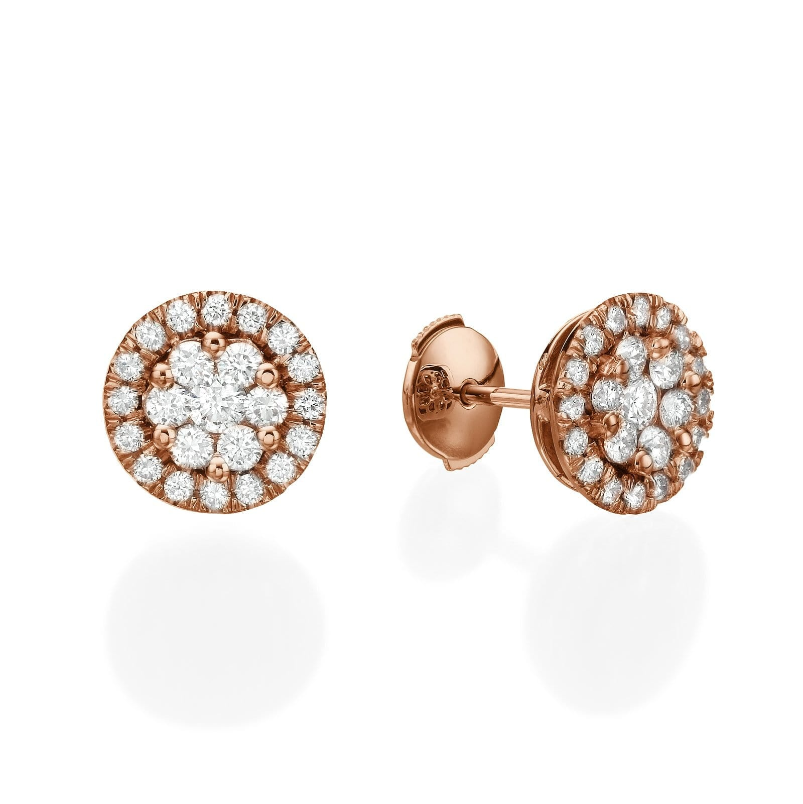 Big Round Diamond Cluster Earrings