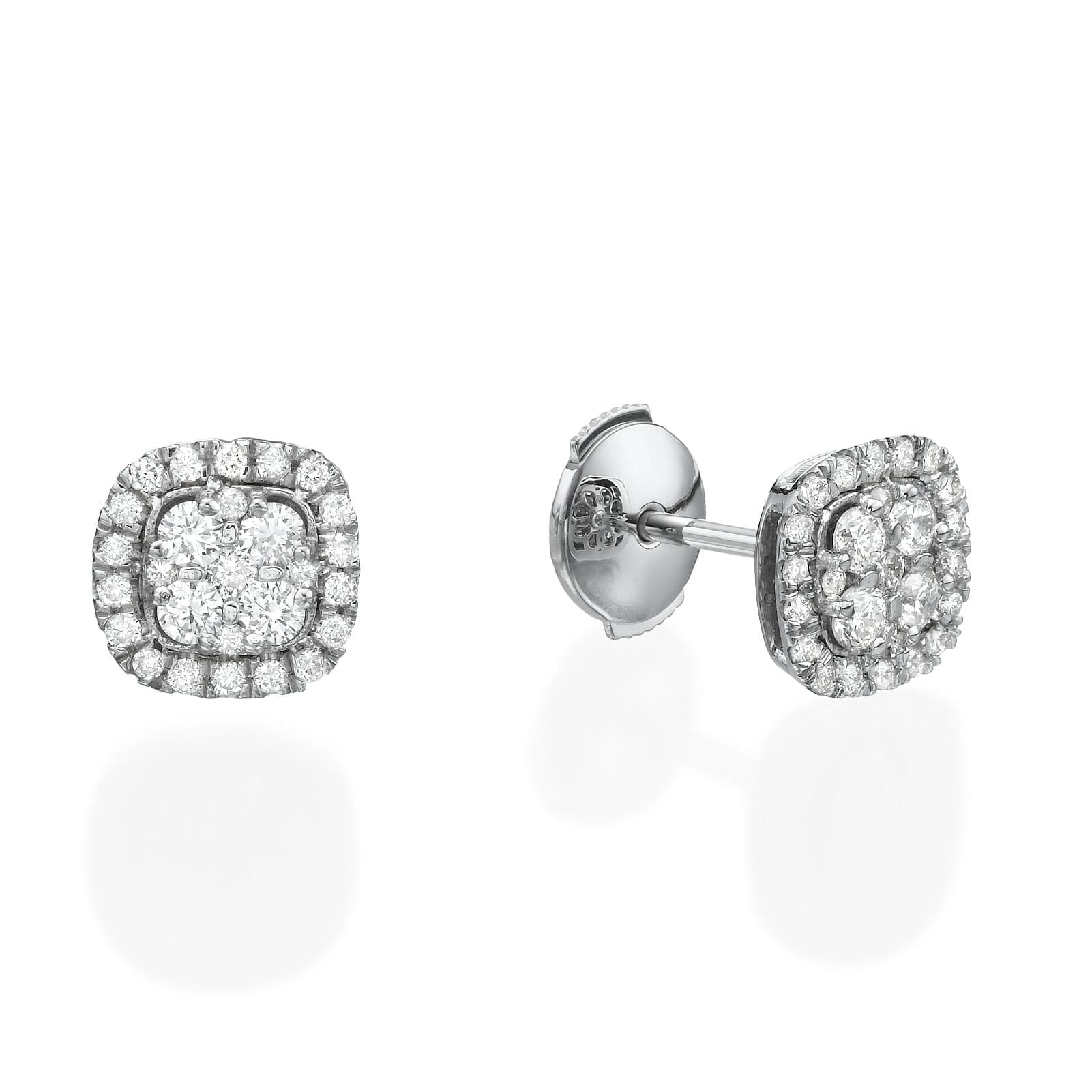 Cushion Shaped Diamond Cluster Earrings