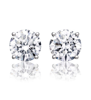 3 ct Round Brilliant Cut Diamond Stud Earrings