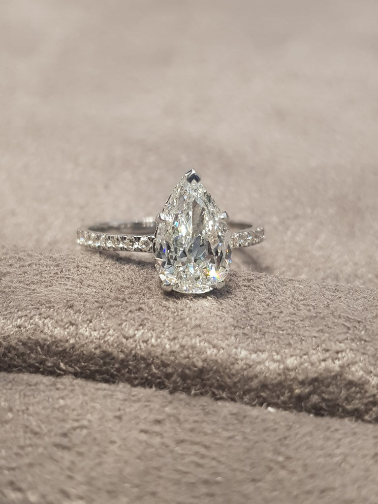 2.65 Carats Pear Shape Side Stones Majestic Hidden Halo Diamond Engagement Ring