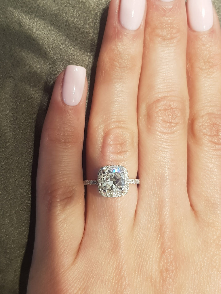 2.50 Carat Cushion Halo Side Stones Diamond Engagement Ring