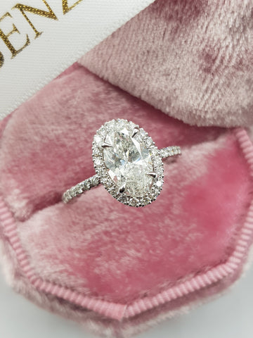2 Carats Oval Cut Micropave Halo Side Stones Diamond Engagement Ring