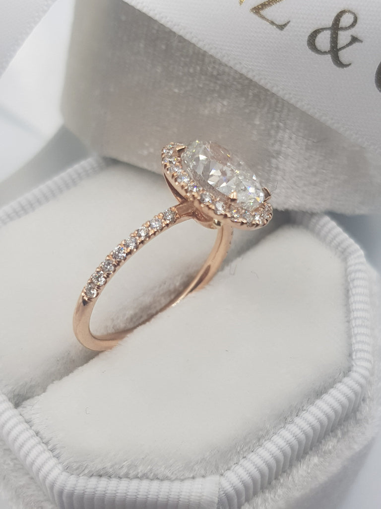 2.60 Carats Oval Cut Micropave Halo Side Stones Diamond Engagement Ring