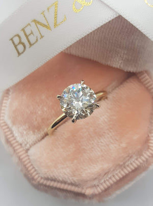 2.75 Carats Round Brilliant Cut Solitaire Hidden Halo Diamond Ring