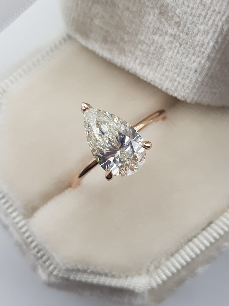 2.15 Carats Pear Shape Hidden Halo Diamond Engagement Ring