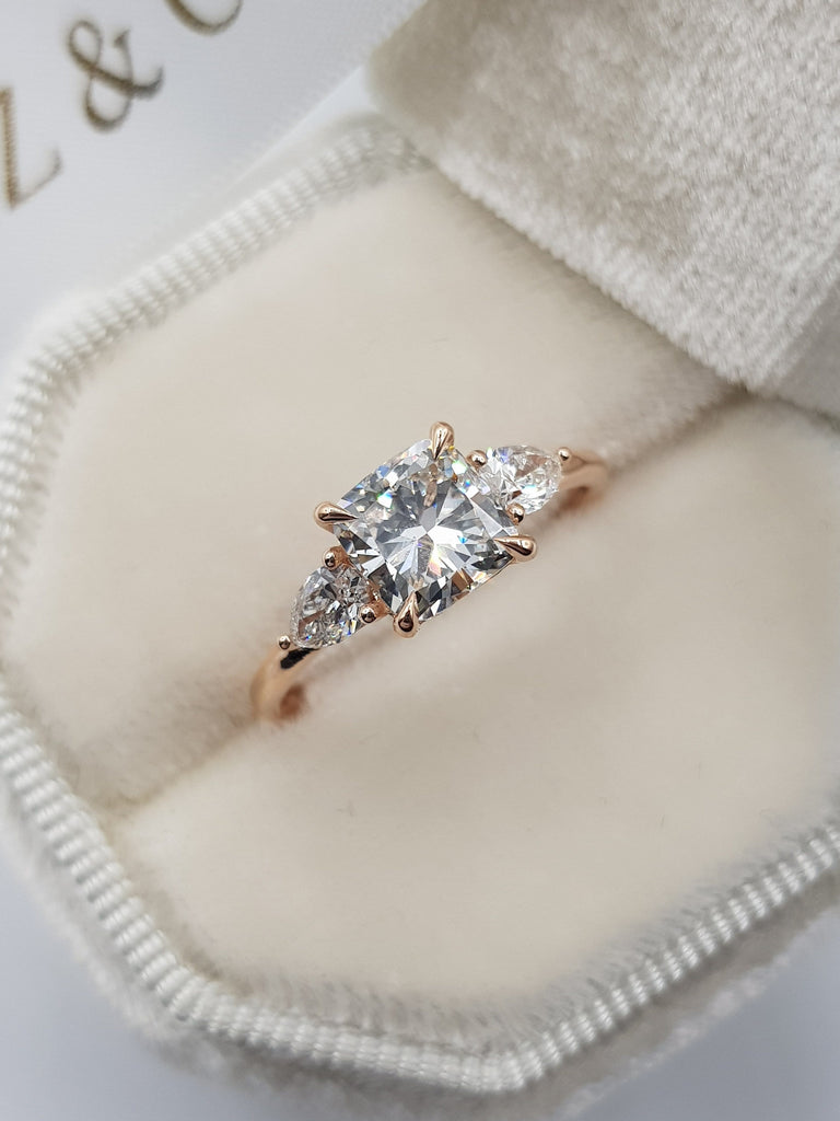 1.55 Carats Cushion Cut with 2 Pear Shape Side Stones Diamond Engagement Ring