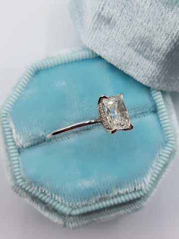 2.15 Carat Cushion Cut Hidden Halo Diamond Engagement Ring