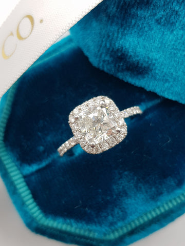 2.15 Carat Cushion Cut Micropaved Halo Side Stones Diamond Engagement Ring