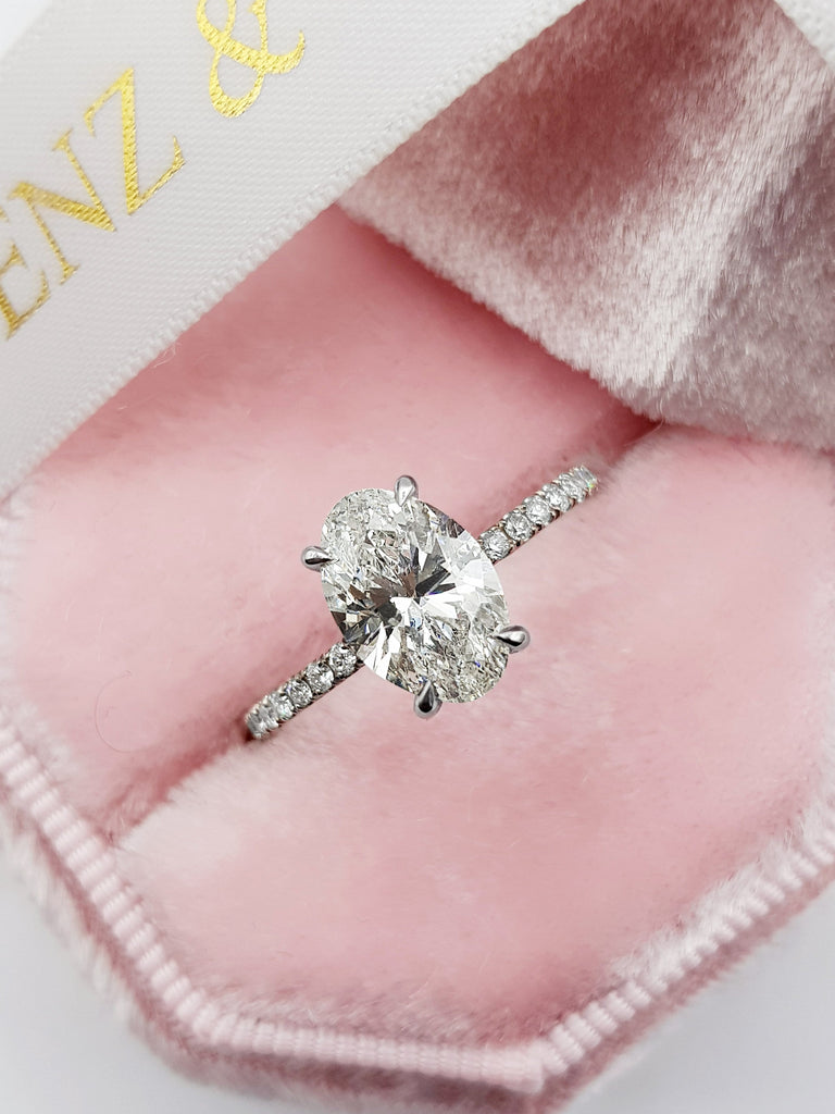 2.50 Carats Oval Cut Micropave Side Stones Hidden Halo Diamond Engagement Ring