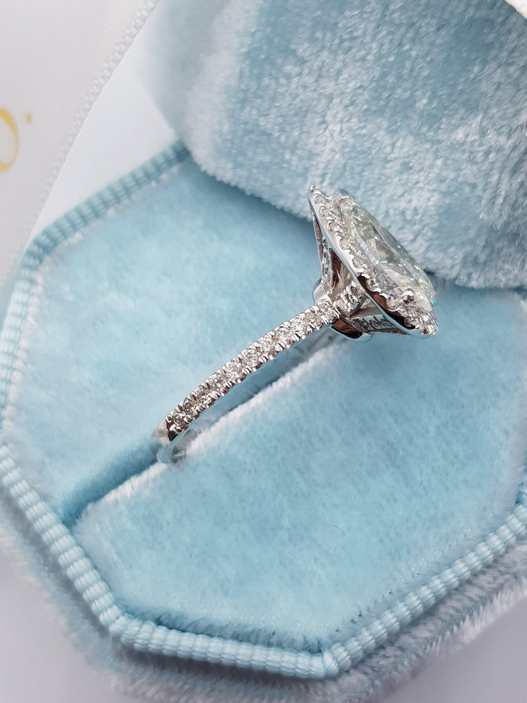2.20 Carats Pear Shaped Halo Micropaved Diamond Engagement Ring
