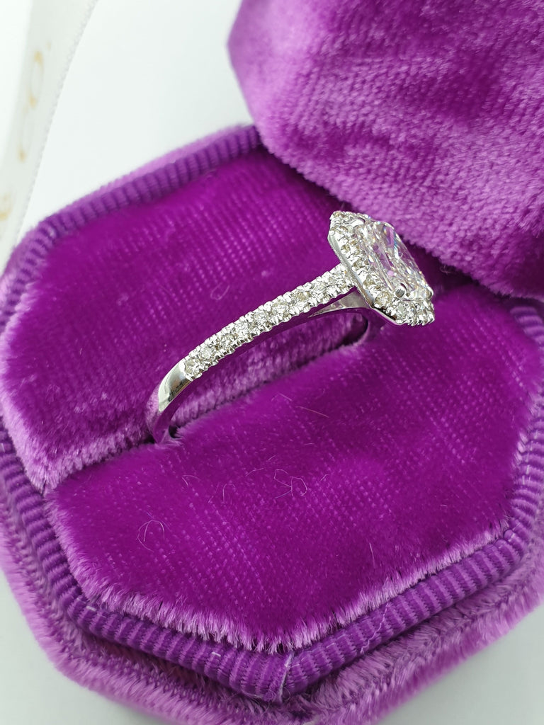 1.40 Carats Radiant Cut Halo Micropaved Diamond Engagement Ring