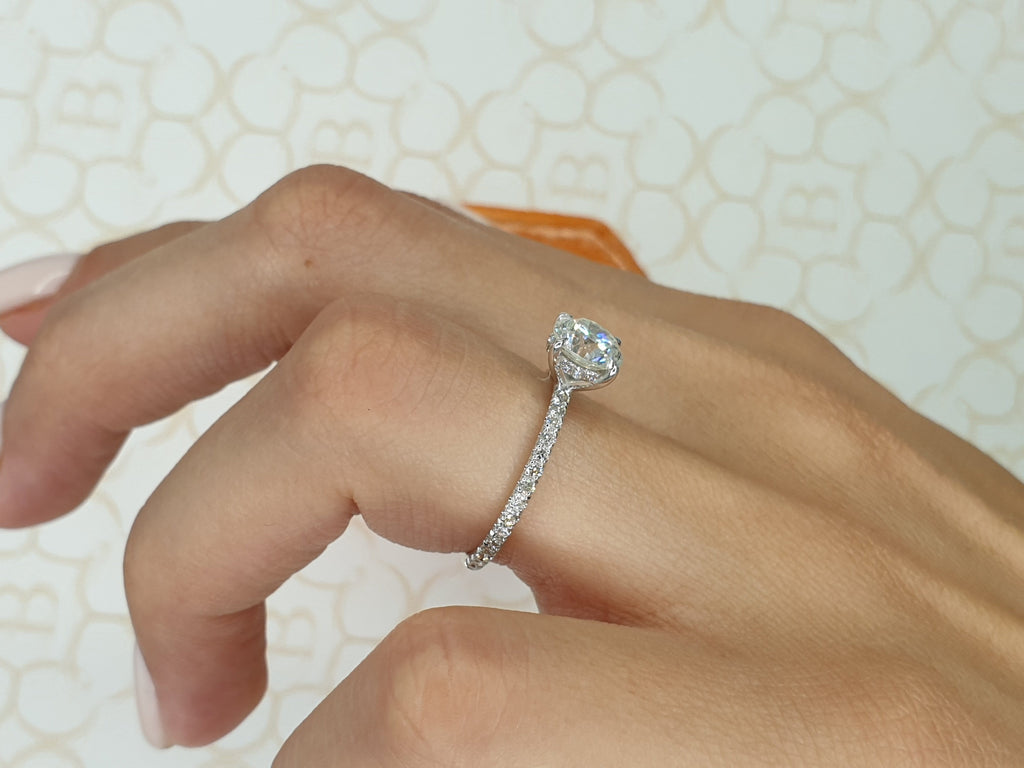 1.20 Carats Round Brilliant Cut Micropave Side Stones Hidden Halo Diamond Engagement Ring