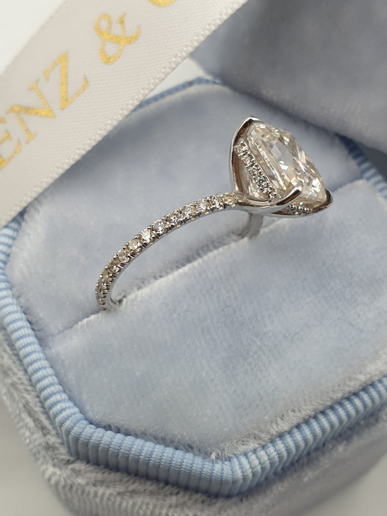 3.50 Carats Radiant Cut Micropave Side Stones Hidden Halo Diamond Engagement Ring