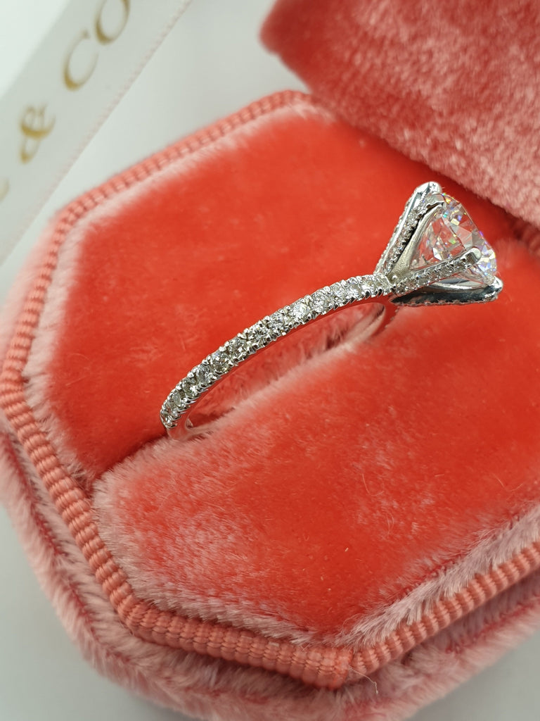 2 Carats Round Brilliant Cut Micropave Side Stones Accented Prongs Diamond Engagement Ring