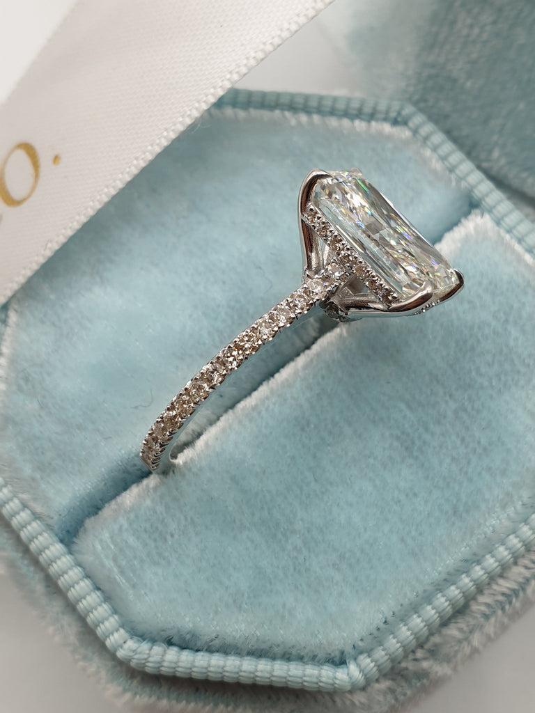 3.50 Carats Super Elongated Radiant Cut Micropaved Side Stones Hidden Halo Diamond Engagement Ring