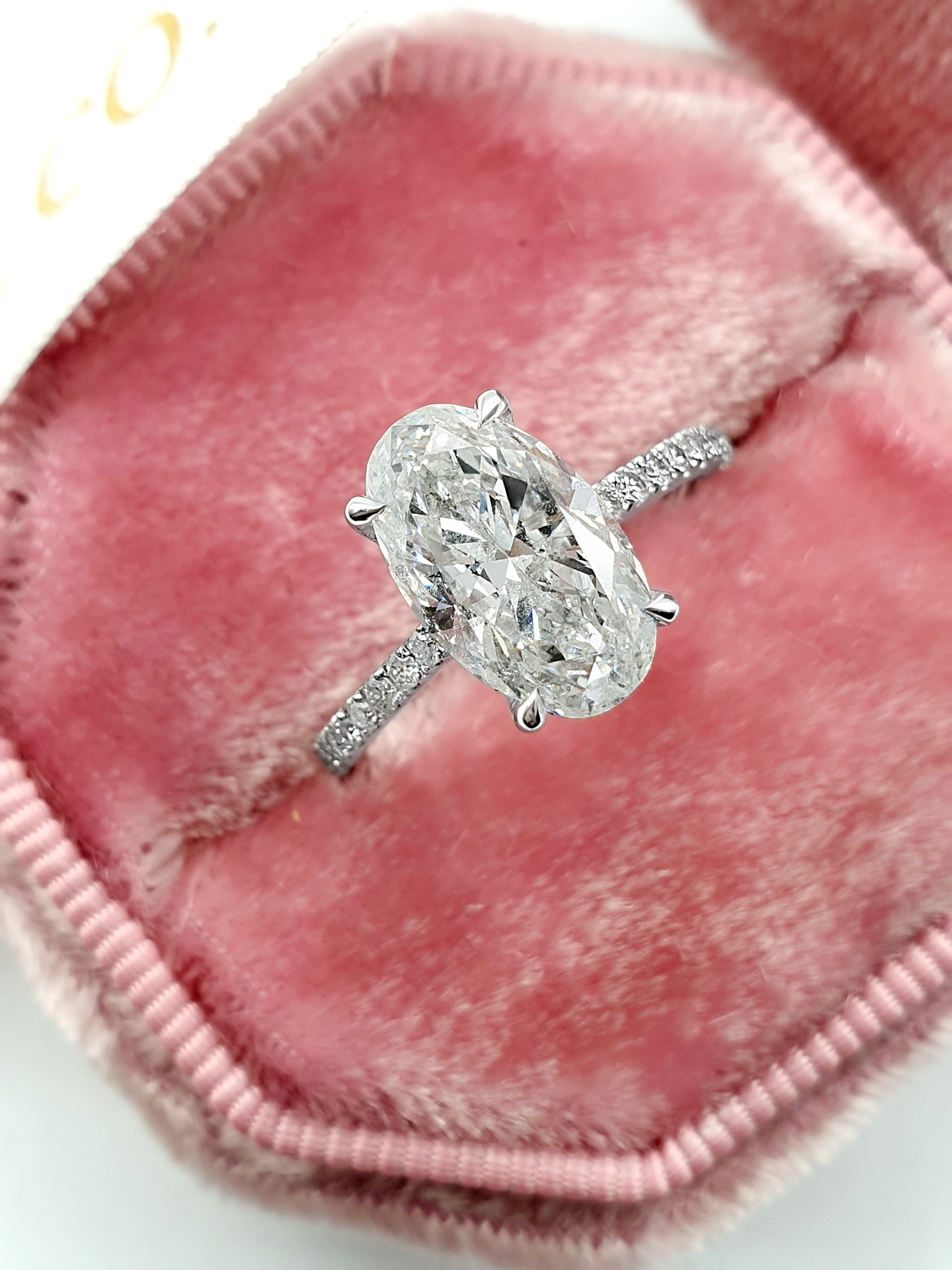 3 Carats Oval Cut Micropave Side Stones Hidden Halo Diamond Engagement Ring
