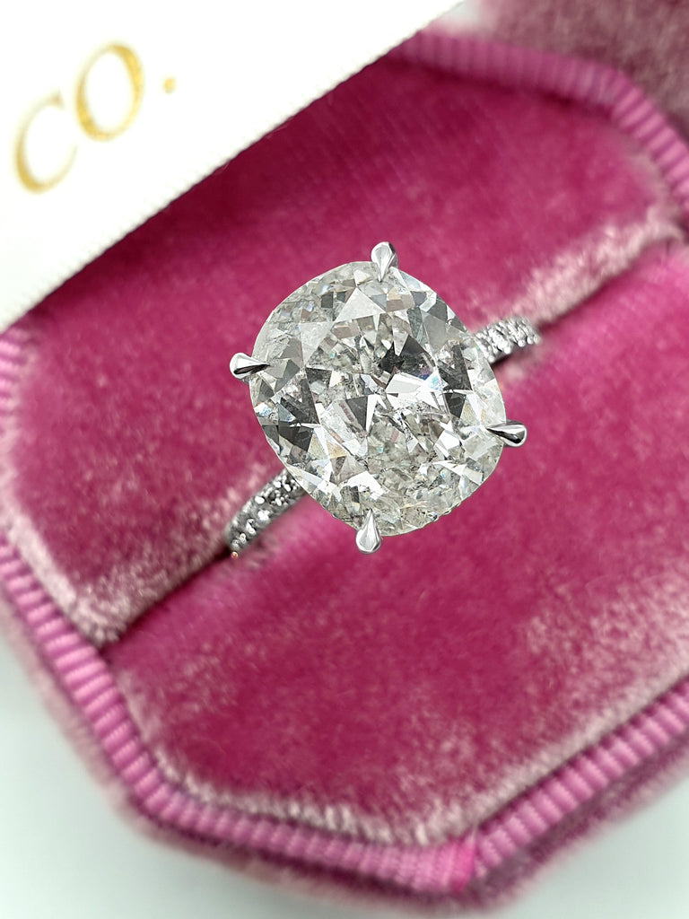 4.70 Carats Elongated Old Mine Cushion Cut Micropave Side Stones Hidden Halo Diamond Engagement Ring