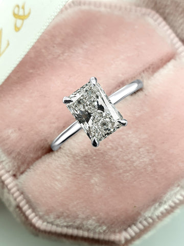 1.91 Carats Radiant Cut Solitaire Hidden Halo Diamond Engagement Ring