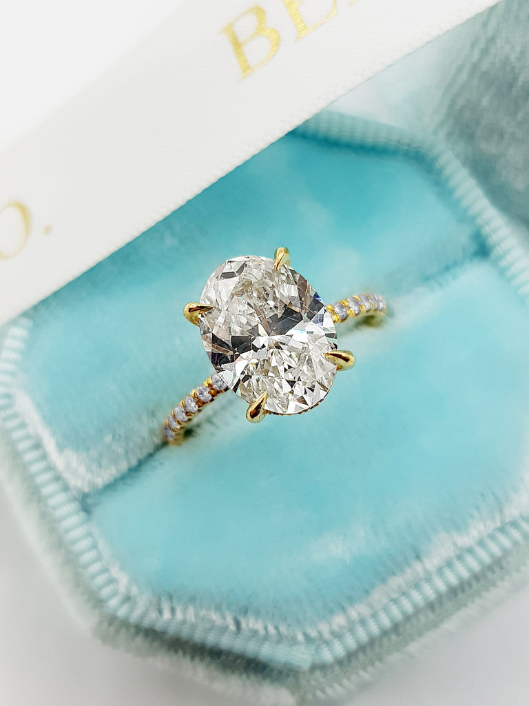 3.55 Carats Oval Cut Micropave Side Stones Hidden Halo Diamond Engagement Ring