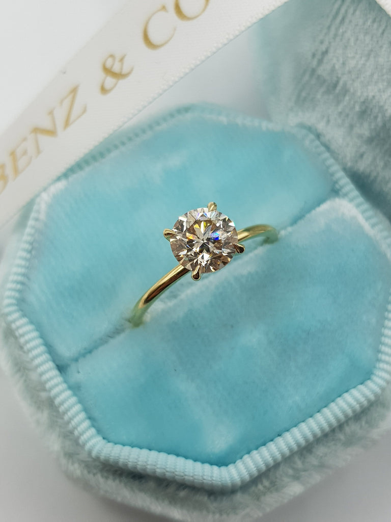1.02 Carat Round Brilliant Cut Diamond Engagement Ring