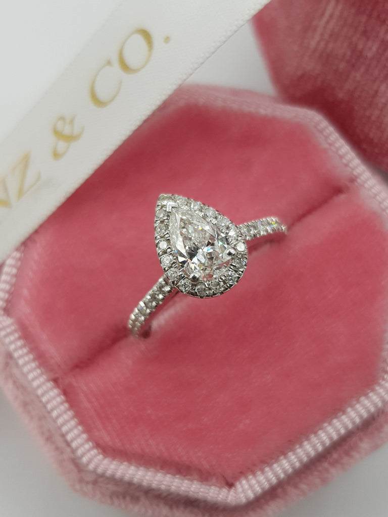 1.20 Carats Pear Shaped Halo Micropaved Diamond Engagement Ring