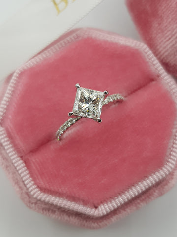 1.70 Carat Princess Cut Side Stones Hidden Halo Diamond Engagement Ring