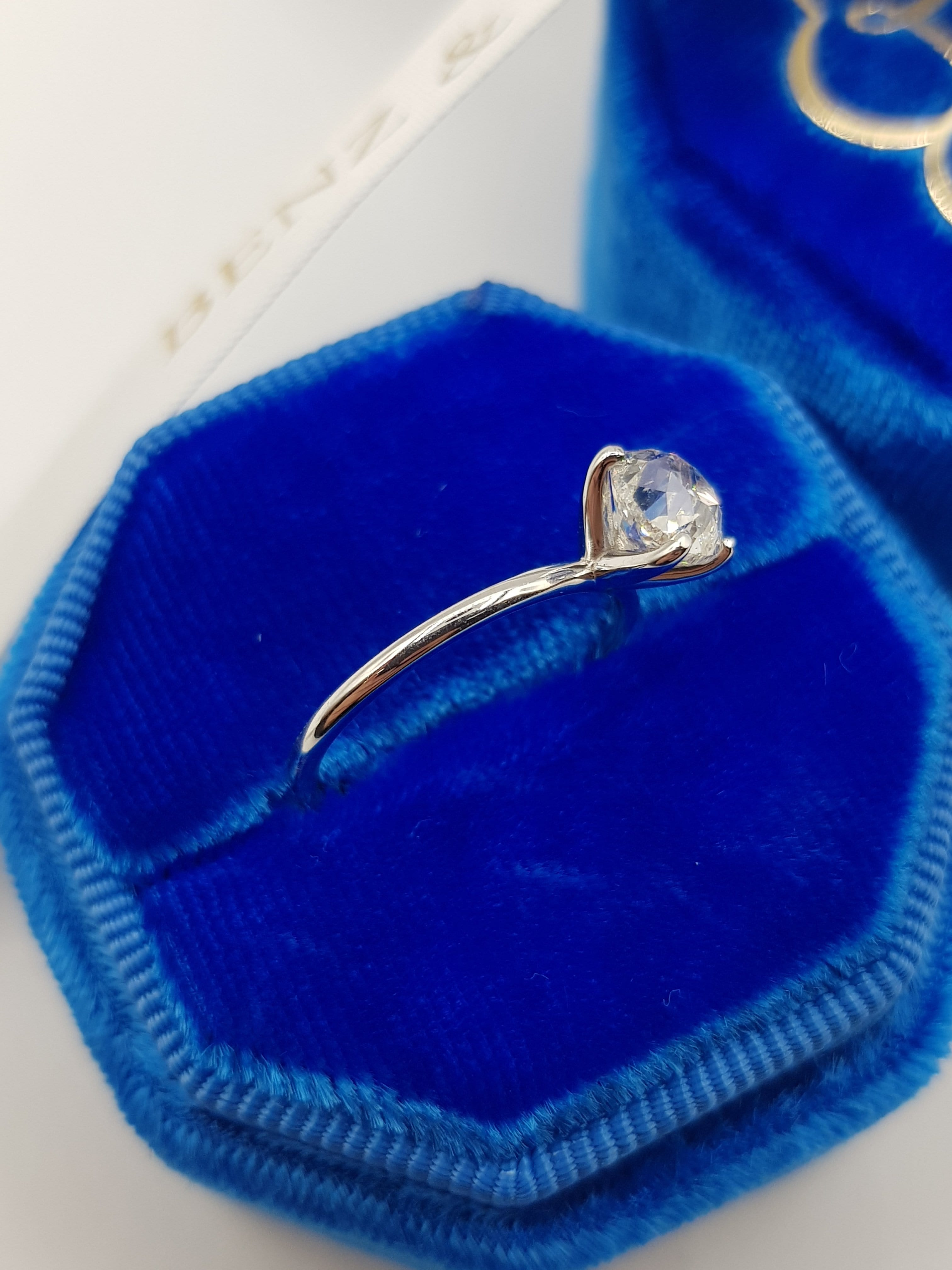 1.10 Carats Old Mine Cushion Cut Solitaire Diamond Engagement Ring