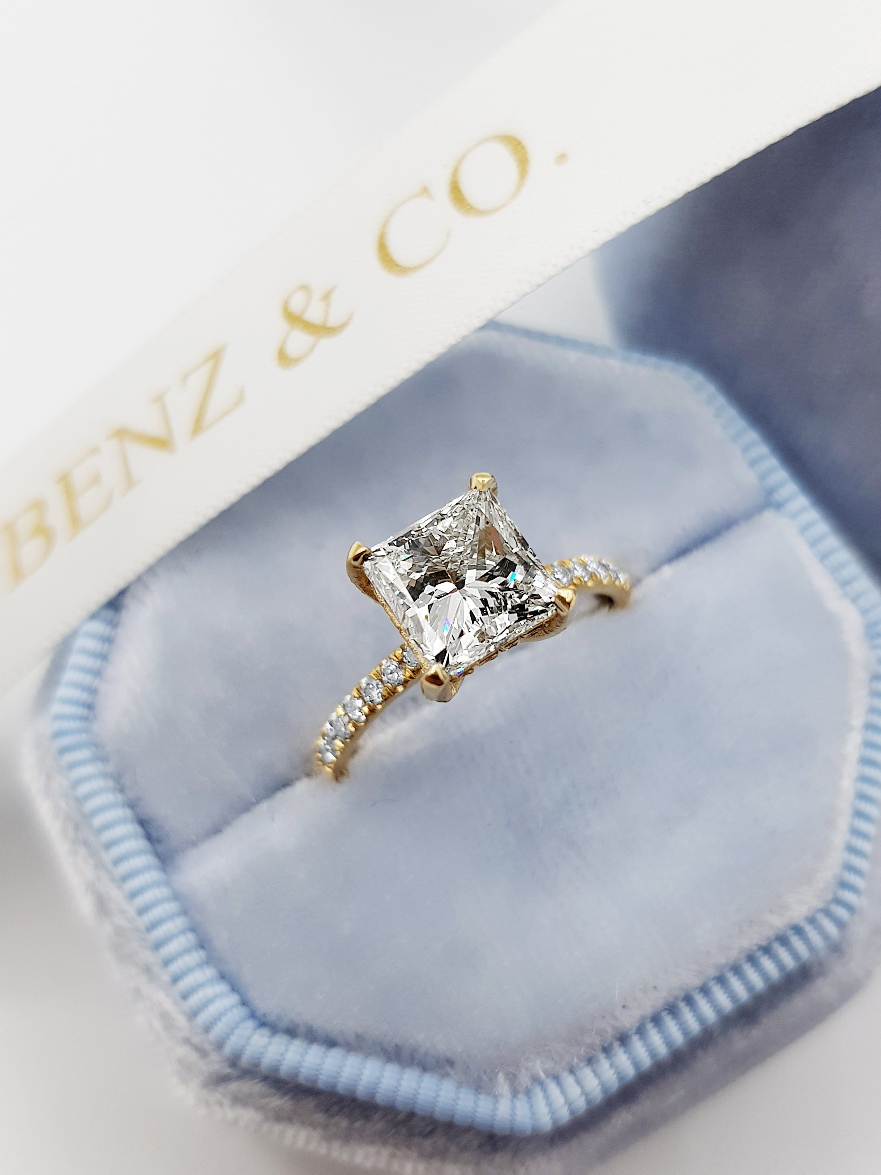 2.50 Carat Princess Cut Side Stones Hidden Halo Diamond Engagement Ring