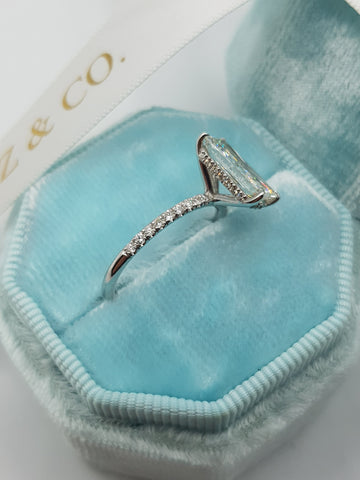 2.30 Carats Super Elongated Radiant Cut Micropaved Side Stones Hidden Halo Diamond Engagement Ring