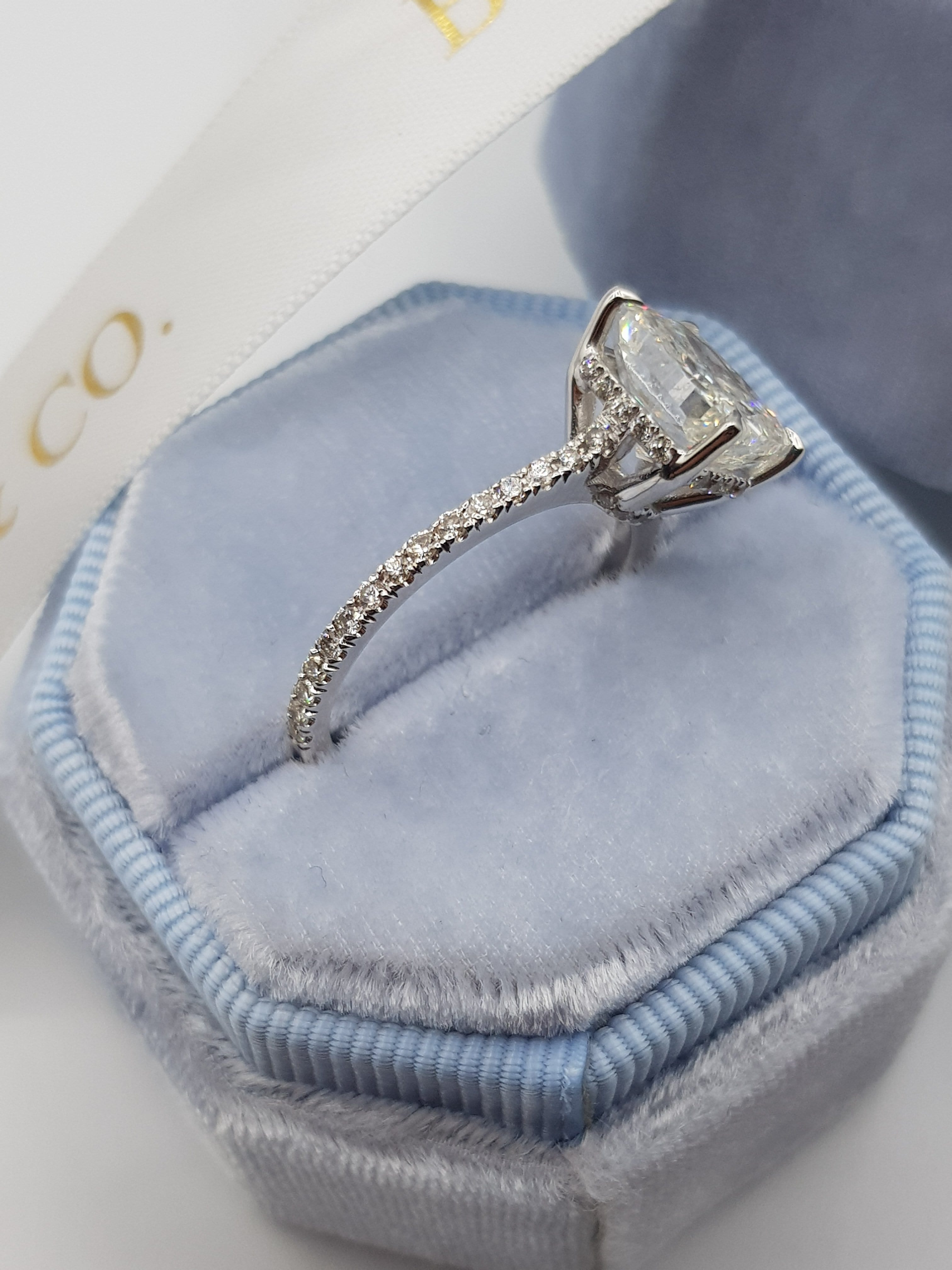 4 Carats Cushion Cut Cathedral Diamond Engagement Ring