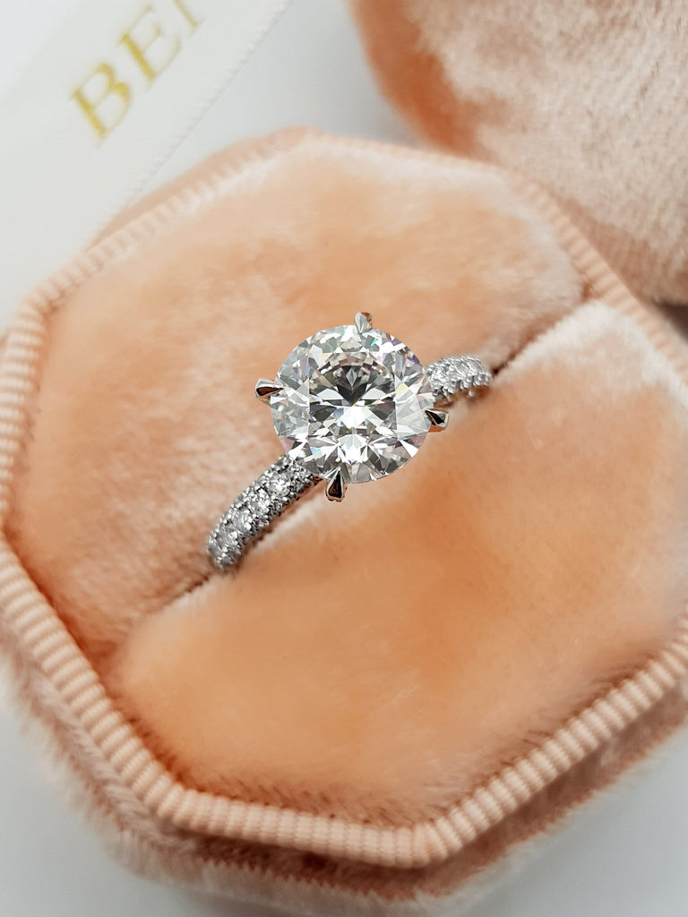 2.75 Carats Round Brilliant Cut Trio-Micropave Side Stones Diamond Engagement Ring