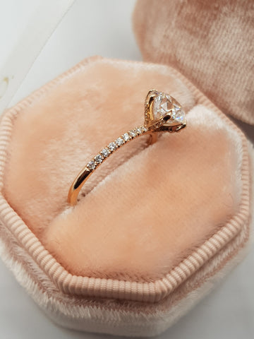 2 Carats Round Brilliant Cut Micropave Side Stones Accented Prongs Diamond Engagement Ring in Rose Gold