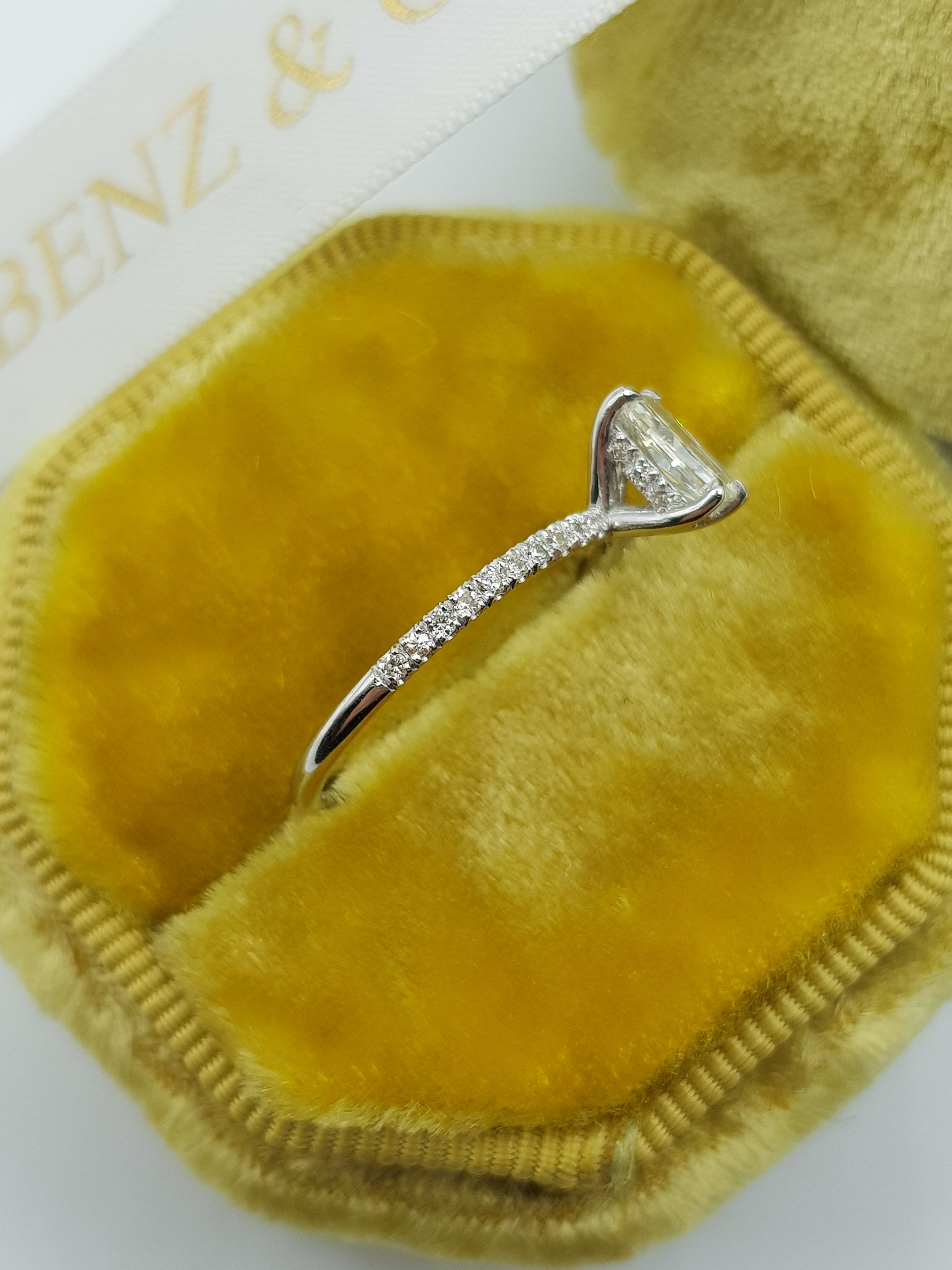 1 Carats Elongated Cushion Cut Micropave Side Stones Hidden Halo Diamond Engagement Ring
