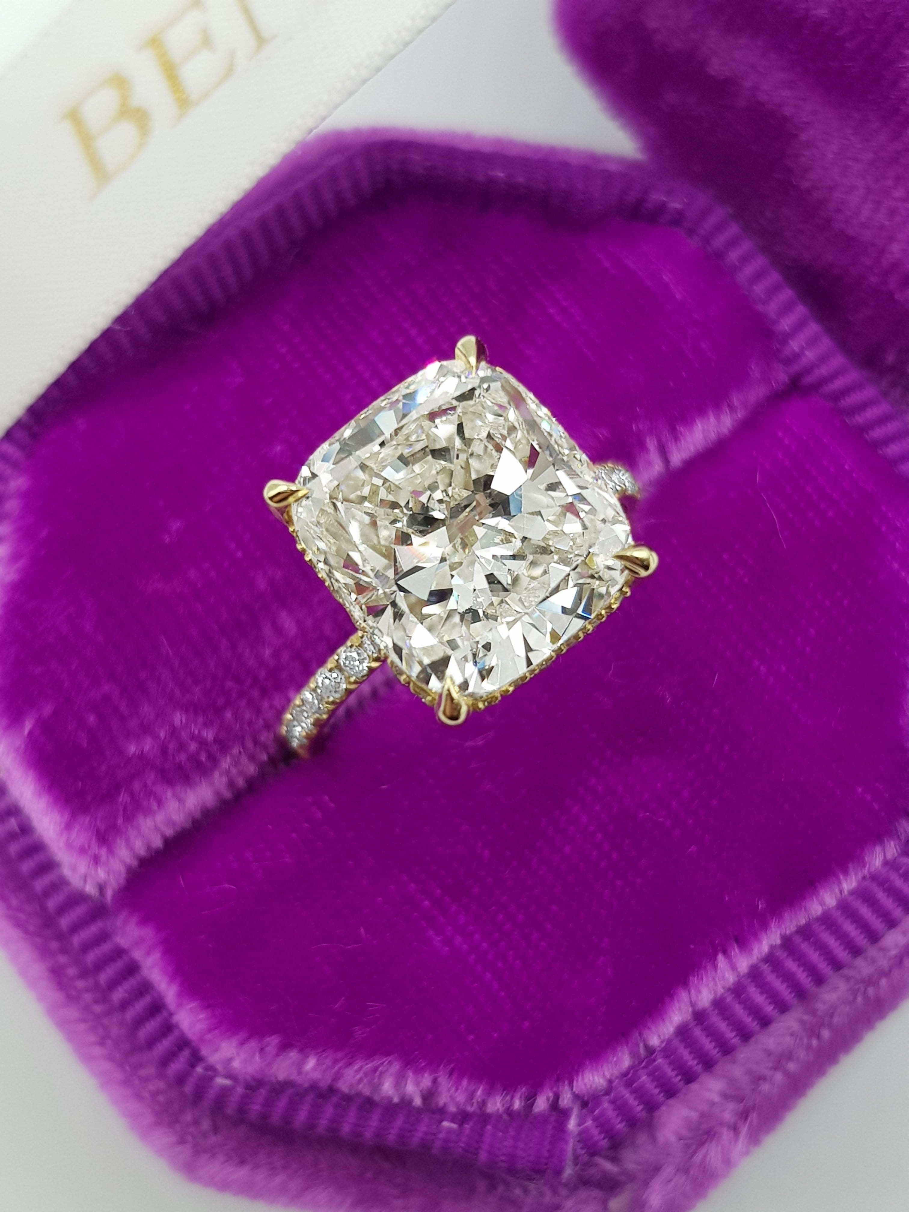 6.20 Carats Cushion Cut Micropaved Side Stones Hidden Halo Diamond Engagement Ring