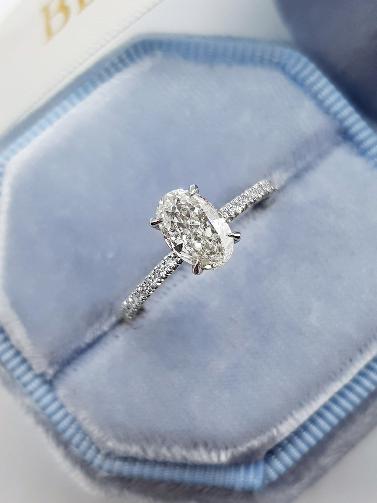 1.10 Carats Oval Cut Micropave Side Stones Hidden Halo Diamond Engagement Ring