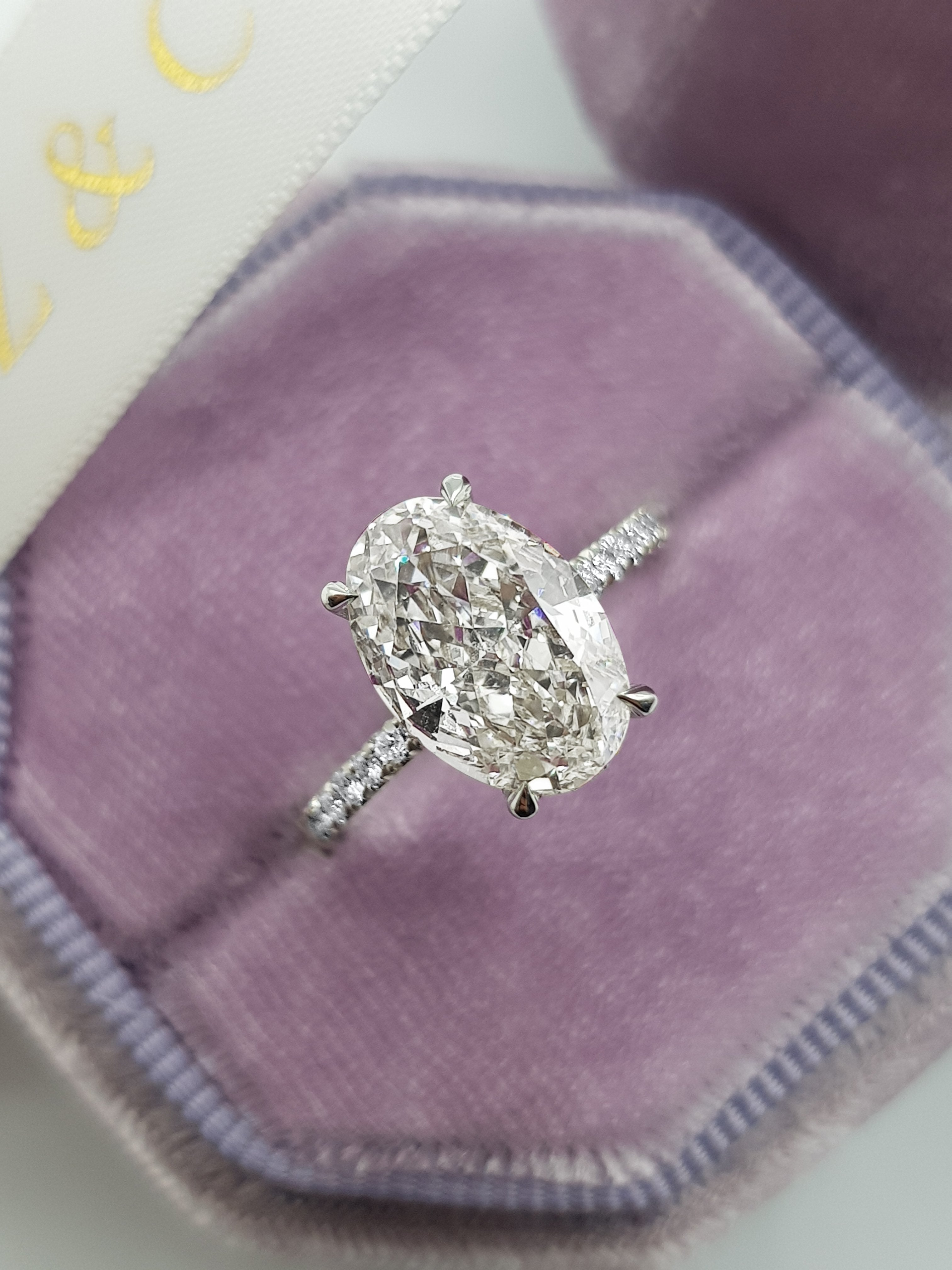 3.65 Carats Oval Cut Micropaved Side Stones Hidden Halo Diamond Engagement Ring