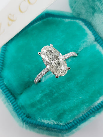 2.70 Carats Oval Cut Micropave Side Stones Hidden Halo Diamond Engagement Ring