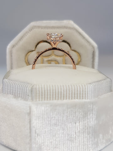 2 Carats Cushion Cut Micropave Side Stones Hidden Halo Diamond Engagement Ring