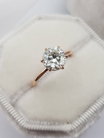 1.72 Carats Round Brilliant Cut Hidden Halo Diamond Engagement Ring