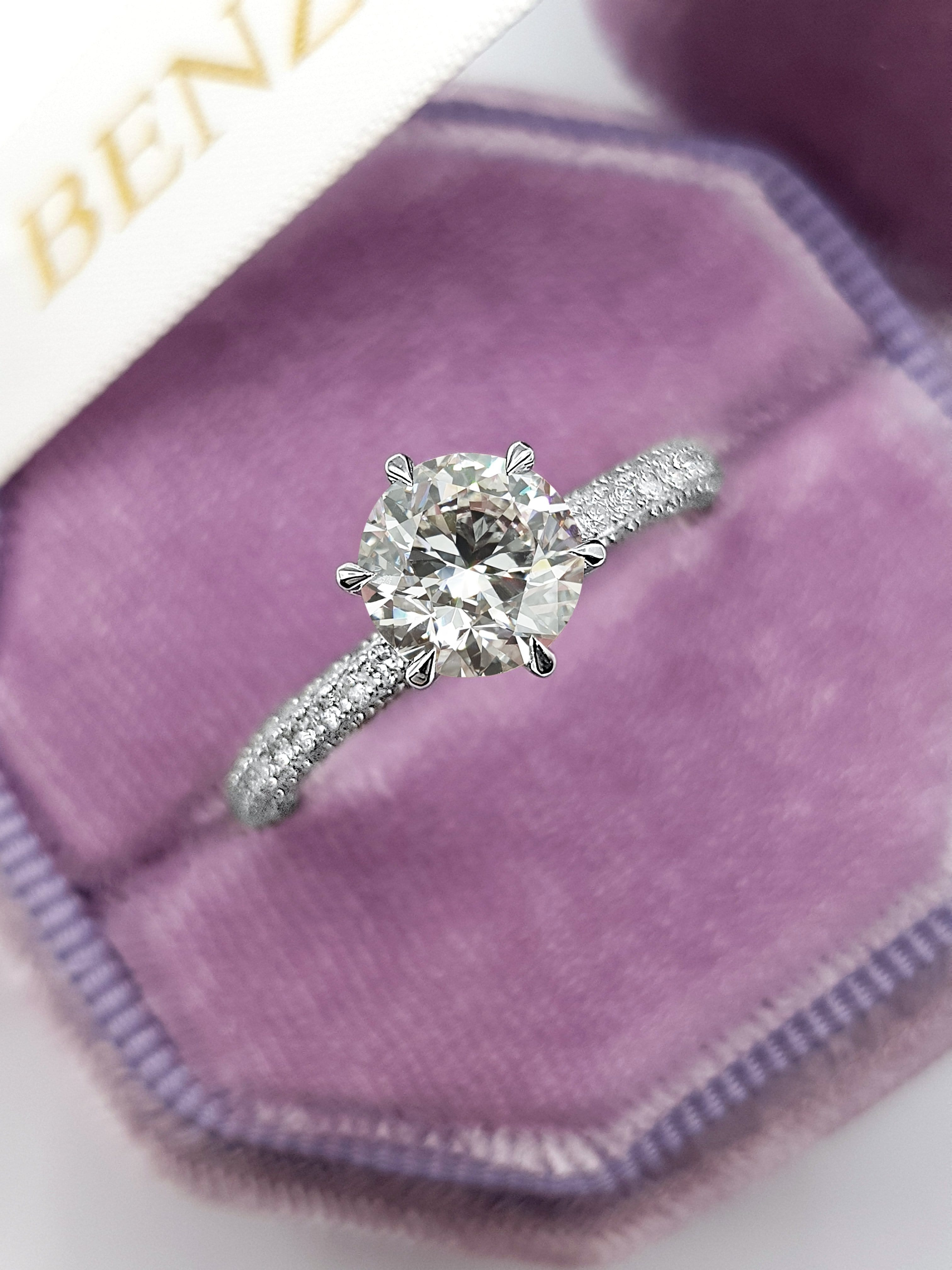 2.26 Carats Round Brilliant Cut Trio-Micropave Side Stones Collar Diamond Engagement Ring