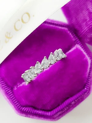 3 ct Pear Shape Diagonal Set Diamond Eternity Band
