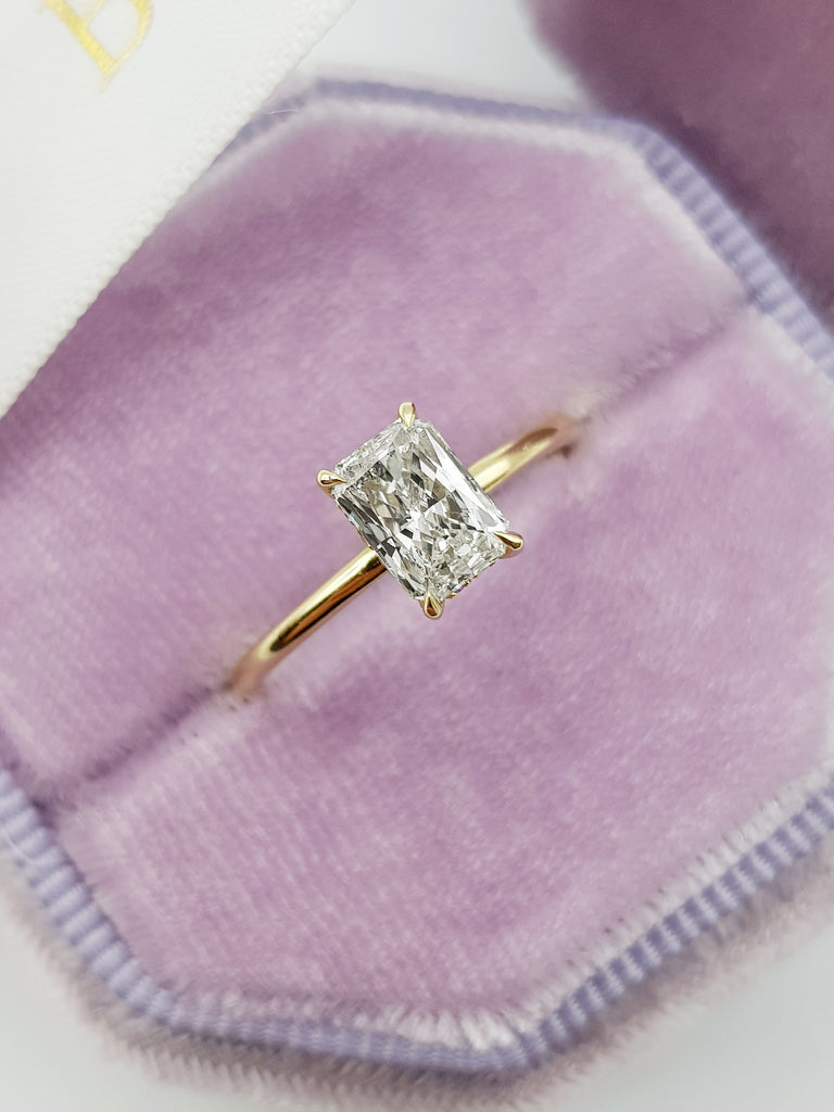 1.15 Carats Radiant Cut Hidden Halo Diamond Engagement Ring