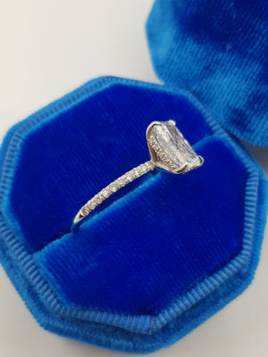2.52 Carats Radiant Cut Micropaved Side Stones Hidden Halo Diamond Engagement Ring
