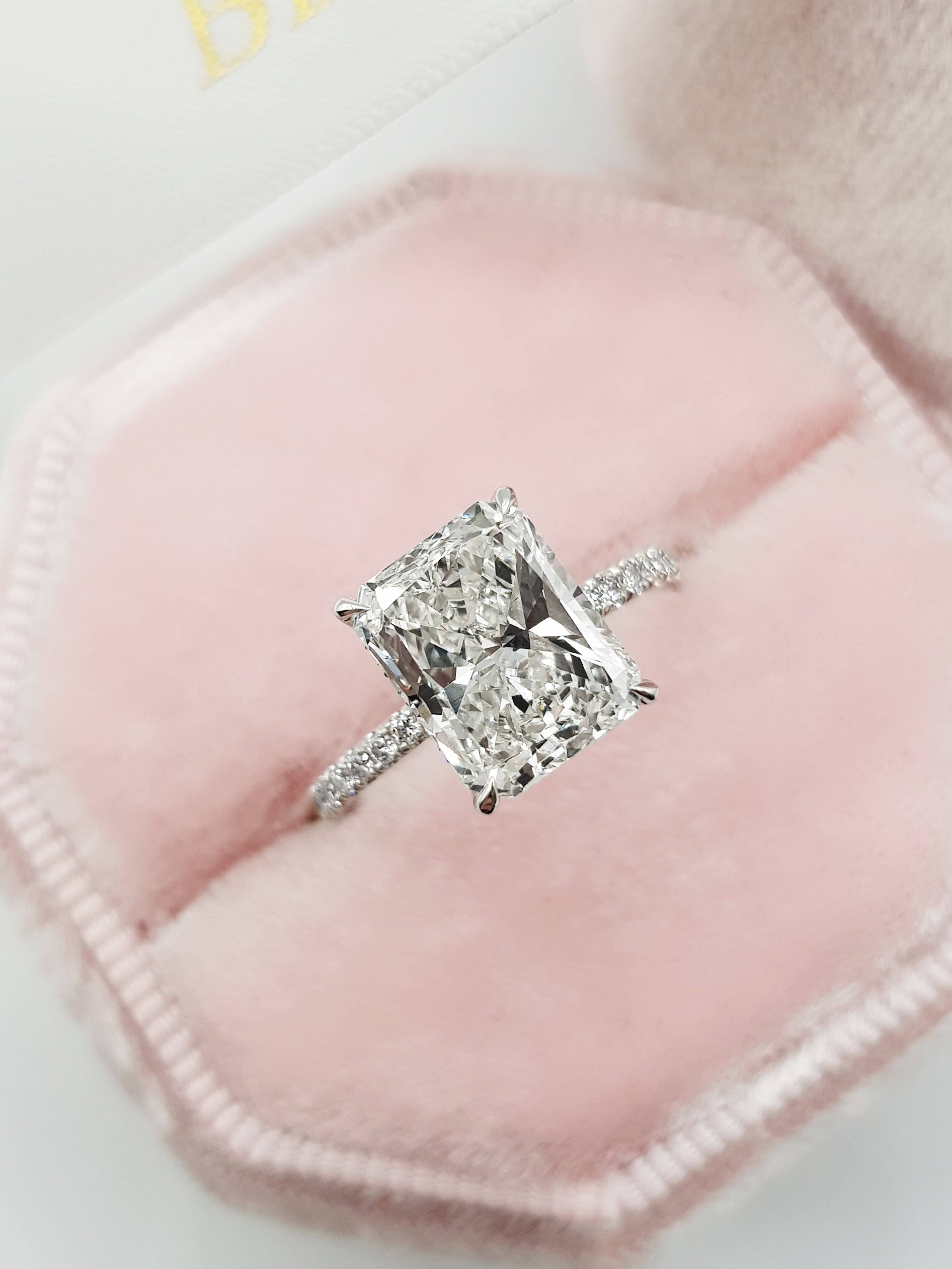 3.32 Carats Radiant Cut Micropaved Side Stones Hidden Halo Diamond Engagement Ring
