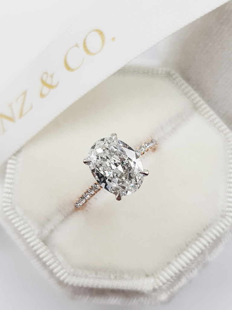 2.60 Carats Oval Cut Micropave Side Stones Hidden Halo Two-Tone Diamond Engagement Ring