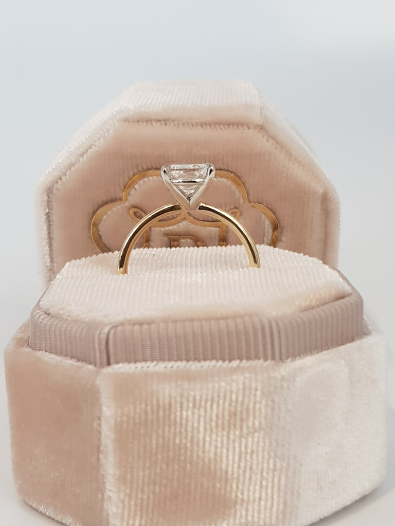 1.70 Carat Cushion Cut Solitaire Two-Tone Diamond Engagement Ring