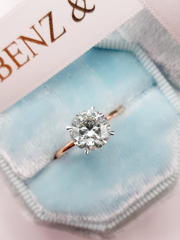 2.15 Carats Round Brilliant Cut Hidden Halo Two-Tone Diamond Engagement Ring